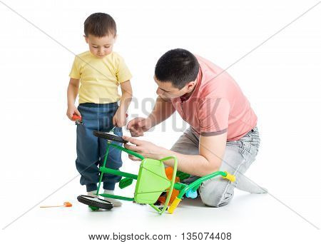 Father and child son fixing bike isolated
