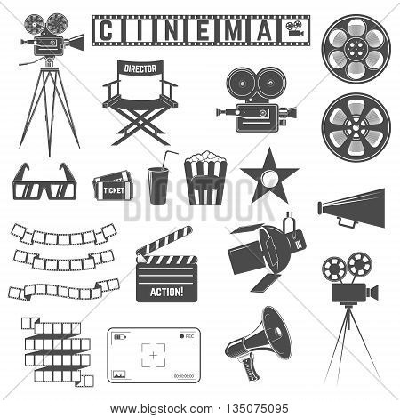 Set of cinema icons. Directors chair cinema cameras 3d goggles tickets film strip. Design elements for poster logo label emblem sign. Vector illustration.
