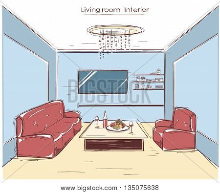 Living Room Interior.vector Color Hand Drawing Illustration
