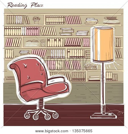 Interior Reading Room.vector Color Hand Draw Sketchy Illustration