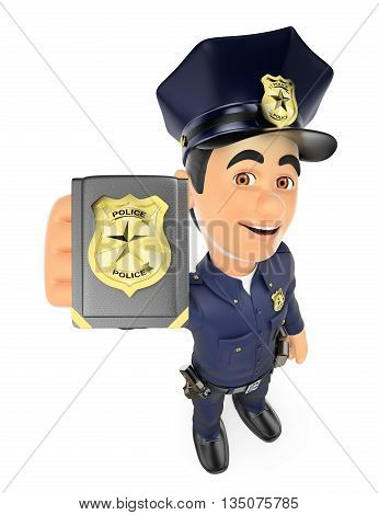 3d security forces people illustration. Policeman showing police badge. Isolated white background.