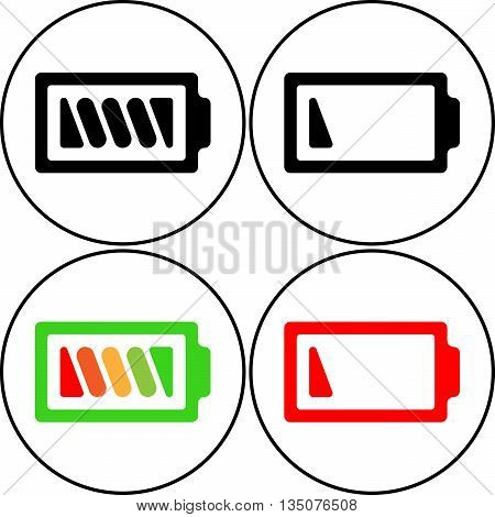 Set of symbol battery color icon - vector flat design. Eps 10