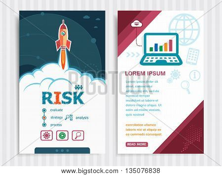 Risk and concept background with rocket. Project Risk concepts and Set of Banners. Vector Illustration. Eps10 Format.