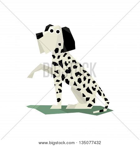 Black And White Dalmatian Dog Bright Color Simplified Geometric Style Flat Vector Illustrations On White Background