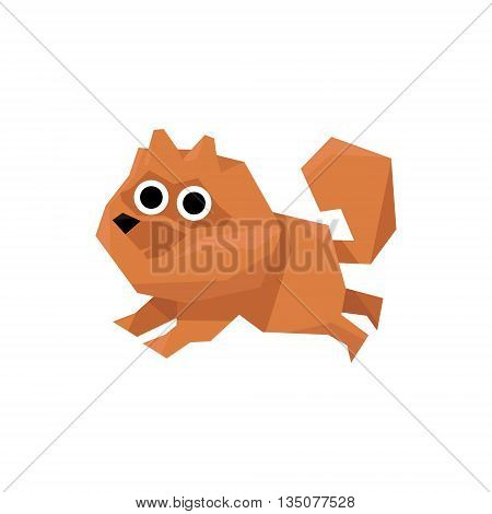 Pomeranian Spitz Dog Bright Color Simplified Geometric Style Flat Vector Illustrations On White Background