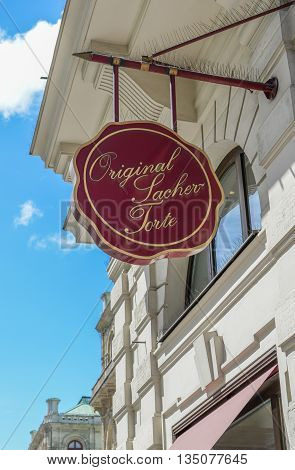 VIENNA AUSTRIA - JUNE 01 2016: Sachertorte logo. Sacher cake is a specific type of chocolate cake invented by Austrian Franz Sacher in 1832 Vienna Austria.