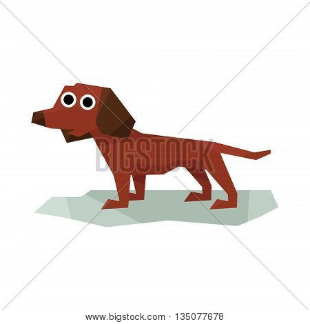 Dachshung Brown Dog Bright Color Simplified Geometric Style Flat Vector Illustrations On White Background