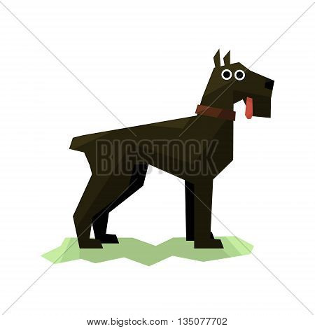 Giant Schnauzer Black Dog Bright Color Simplified Geometric Style Flat Vector Illustrations On White Background