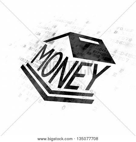 Money concept: Pixelated black Money Box icon on Digital background