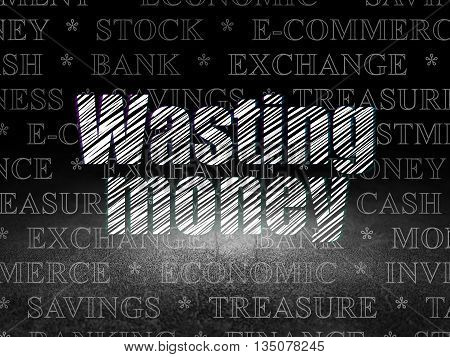 Currency concept: Glowing text Wasting Money in grunge dark room with Dirty Floor, black background with  Tag Cloud