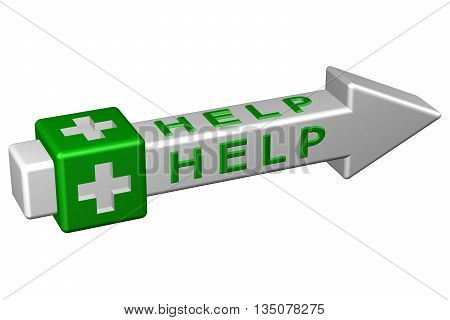 Concept : Help isolated on white background. 3D rendering.