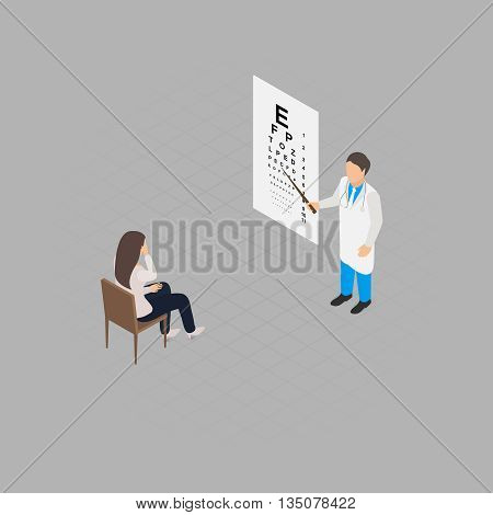 Eye check up health test isometric vector illustration