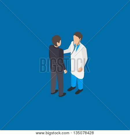 Medical doctor examination isometric vector illustration with stethoscope