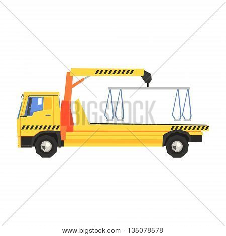 Empty Yellow Big Evacuation Truck Flat Simplified Colorful Vector Illustration Isolated On White Background
