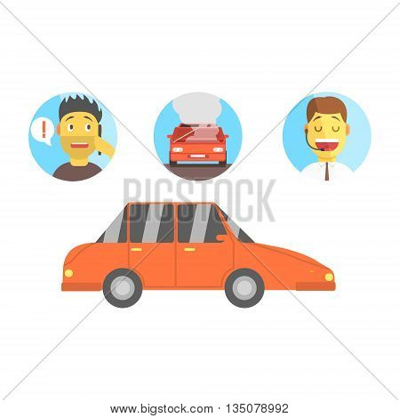 Car, Man Calling For Help And Evacuation Service Operator Flat Simplified Colorful Vector Illustration Isolated On White Background