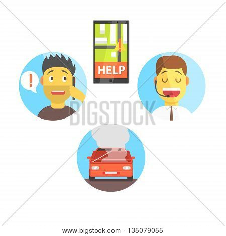 Evacuation Service App And Operator Helping The Client Flat Simplified Colorful Vector Illustration Isolated On White Background