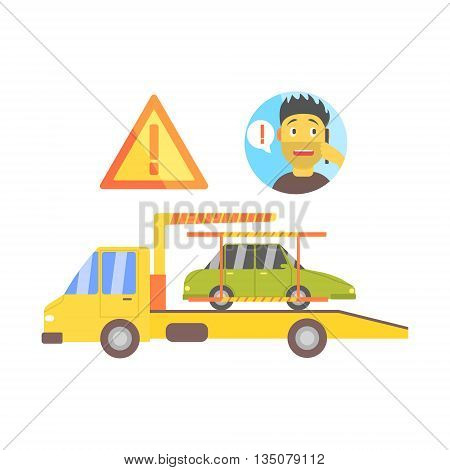 Man Calling And Truck Evacuating His Car Flat Simplified Colorful Vector Illustration Isolated On White Background