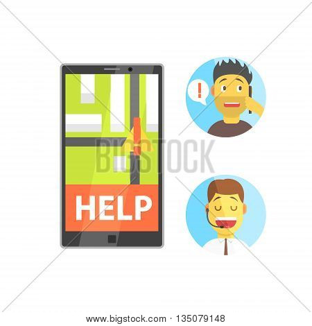 Client And Operator Of Evacuation Service With Smartphone App Flat Simplified Colorful Vector Illustration Isolated On White Background