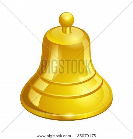 Gold Bell On A White Background Isolated On White Background