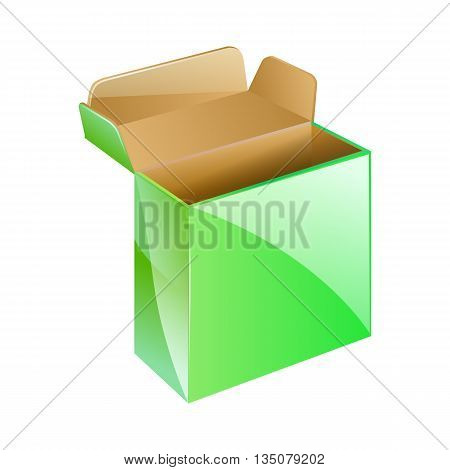 Green Box Package Isolated On White Background