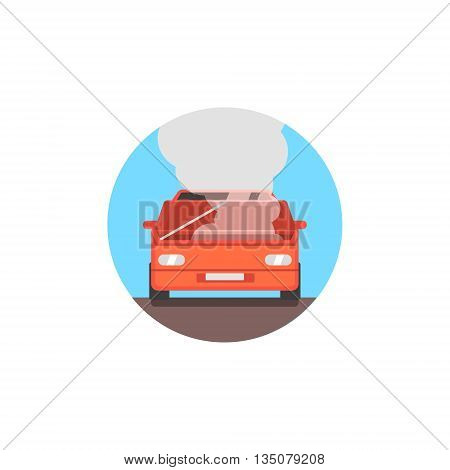 Broken Car With Fuming Engine Flat Simplified Colorful Vector Illustration Isolated On White Background