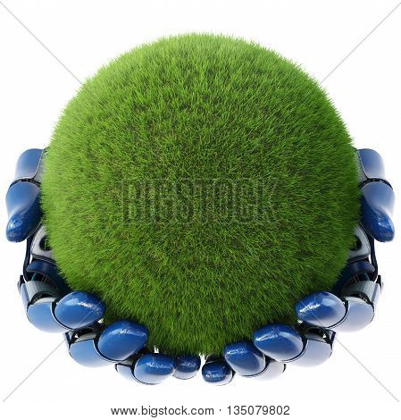 Robot's hand keeps a ball from green grass. isolated on white background. 3D illustration.