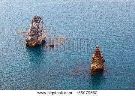 Rocks Orestes and Pylades near Cape Fiolent. Heraclean peninsula on the southwest coast of Crimea. Balaclava district of Sevastopol.