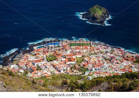 Aerial View Of Garachico Village In Tenerife