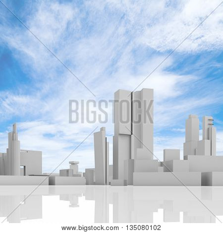 Abstract Cityscape Over Blue Cloudy Sky