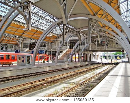Luebeck Germany - May 23 2008: View of central station hall