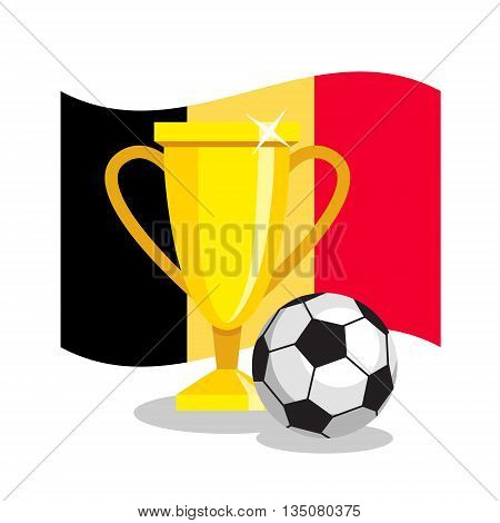 Football or soccer ball with cup and belgian flag on white background. Concept of championship, league, team sport. Concept of prize, leadership, winning and success. Winner award.