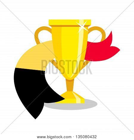 Golden cup with belgian flag on white background. Concept of championship, league, team sport. Concept of prize, leadership, winning and success. Winner award.