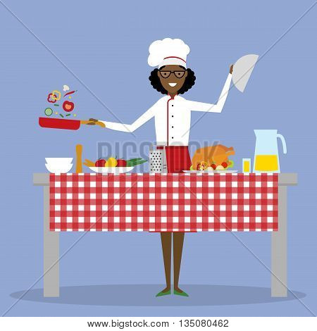 African american chef cooking on blue background. Restaurant worker preparing food. Chef uniform and hat. Table and cafe equipment.