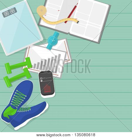 Set of fitness tools. Set of sneakers, phone, diary and scale. Workout with dumbbells. Health and sport. Gym concept.
