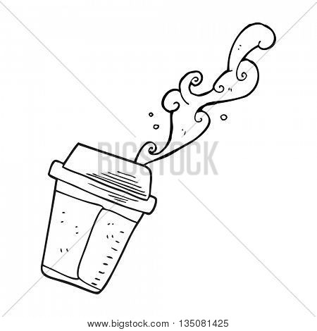 freehand drawn black and white cartoon spilling coffee