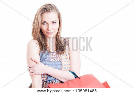 Portrait Of Charming Shopper With Shopping Bags Posing Relaxed