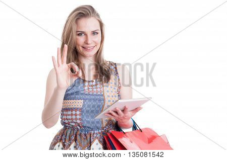 Great Online Shopping Concept With Cheerful Woman Showing Ok Sign
