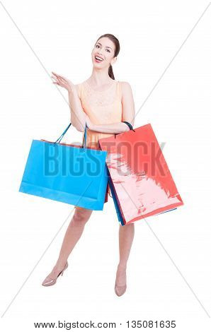 Lady Shopper Posing Happy And Content With Gift Bags