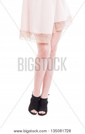 Sexy Long Female Legs Wearing Modern Black High Heels