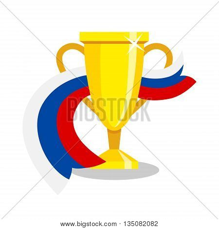 Golden cup with russian flag on white background. Concept of championship, league, team sport. Concept of prize, leadership, winning and success. Winner award.