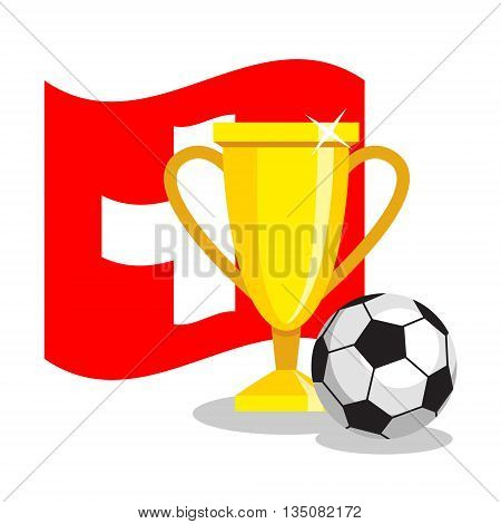 Football or soccer ball with cup and swiss flag on white background. Concept of championship, league, team sport. Concept of prize, leadership, winning and success. Winner award.