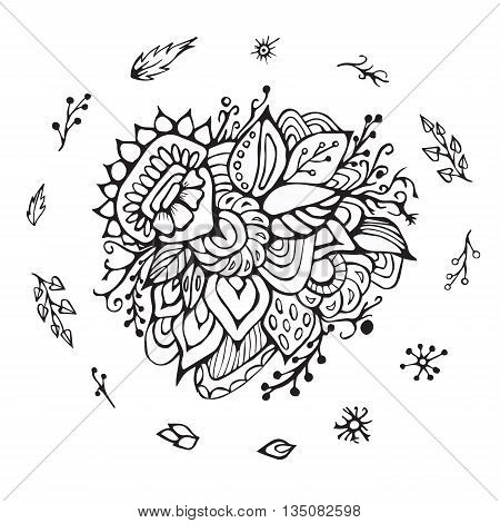 stock vector flower doodle pattern. abstract art background
