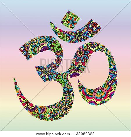 Symbol OM. Oriental ornament for your design. Buddhism decorative element. Vector illustration.