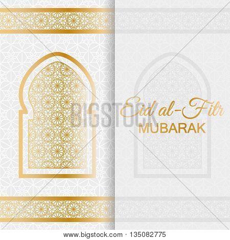 Eid Al Fitr Background. Islamic Arabic window. Greeting card. Vector illustration.