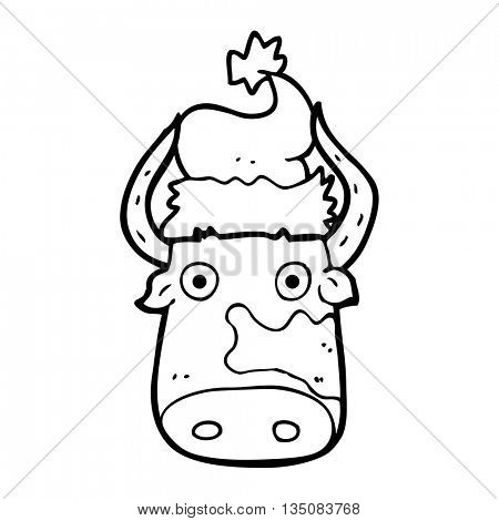 freehand drawn black and white cartoon cow wearing christmas hat