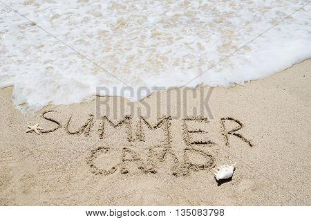 Summer camp background on the sandy beach