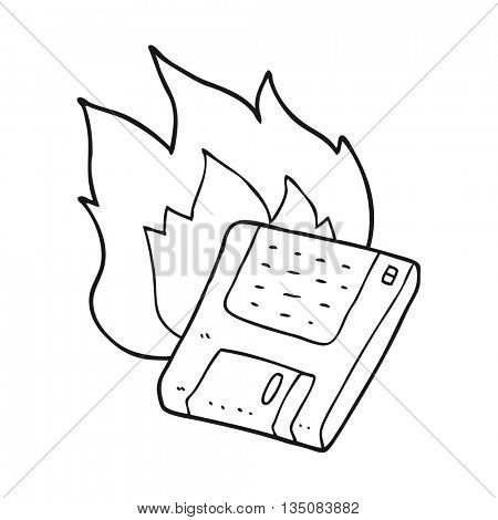 freehand drawn black and white cartoon old computer disk burning