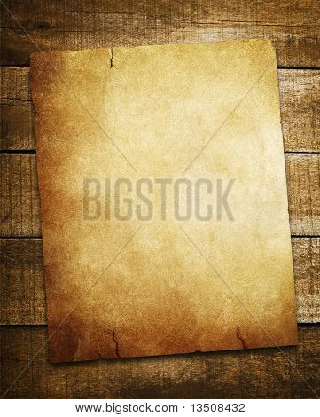 vintage paper on wood background