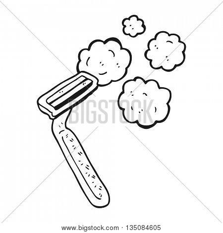 freehand drawn black and white cartoon razor