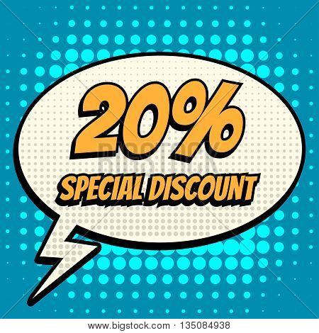 20 percent special discount comic book bubble text retro style